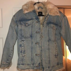 Urban Outfitters fuzzy jean jacket
